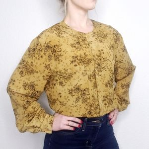 Vintage 80-90s Floral Button Down Boxy Blouse 730